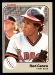 1983 Fleer #81  Rod Carew  Front Thumbnail