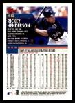 2000 Topps Opening Day #46  Rickey Henderson  Back Thumbnail