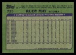 1982 Topps #735  Rudy May  Back Thumbnail