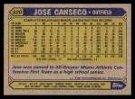 1987 Topps #620  Jose Canseco  Back Thumbnail