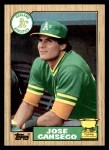 1987 Topps #620  Jose Canseco  Front Thumbnail
