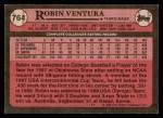 1989 Topps #764  Robin Ventura  Back Thumbnail