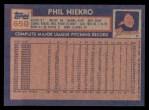 1984 Topps #650  Phil Niekro  Back Thumbnail