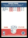 1987 Fleer #37  Patrick Ewing  Back Thumbnail