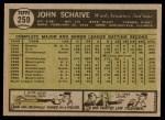 1961 Topps #259  John Schaive  Back Thumbnail