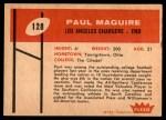 1960 Fleer #128  Paul Maguire  Back Thumbnail