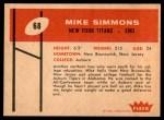 1960 Fleer #68  Mike Simmons  Back Thumbnail