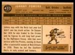 1960 Topps #422  John Powers  Back Thumbnail