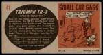 1961 Topps Sports Cars #41   Triumph TR-3 Back Thumbnail