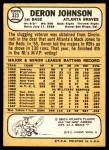 1968 Topps #323  Deron Johnson  Back Thumbnail