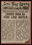 1962 Topps Civil War News #27   Massacre Back Thumbnail