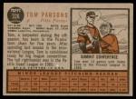 1962 Topps #326  Tom Parsons  Back Thumbnail