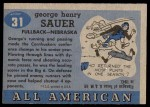 1955 Topps #31  George Sauer  Back Thumbnail