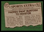 1976 Topps Traded #497 T Joe Mcintosh  Back Thumbnail