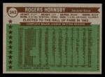 1976 Topps #342   -  Rogers Hornsby All-Time All-Stars Back Thumbnail