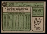 1974 Topps #630  Tommie Agee  Back Thumbnail