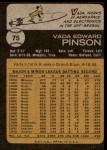 1973 Topps #75  Vada Pinson  Back Thumbnail