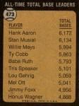 1973 Topps #473   -  Hank Aaron All-Time Total Base Leader Back Thumbnail