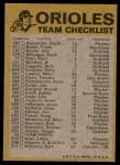 1974 Topps Red Team Checklist   Orioles Team Checklist Back Thumbnail