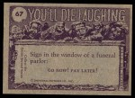 1973 Topps You'll Die Laughing #67   I love you tru-ly Back Thumbnail