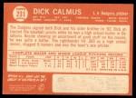 1964 Topps #231  Dick Calmus  Back Thumbnail