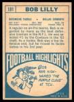 1968 Topps #181  Bob Lilly  Back Thumbnail