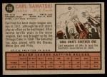 1962 Topps #106  Carl Sawatski  Back Thumbnail