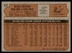 1972 Topps #632  Mike Hegan  Back Thumbnail