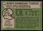 1978 Topps #352  Bobby Hammond  Back Thumbnail