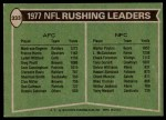 1978 Topps #333   -  Walter Payton / Mark van Eeghen Rushing Leaders Back Thumbnail