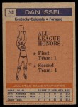 1972 Topps #249   -  Dan Issel  ABA All-Star - 1st Team Back Thumbnail