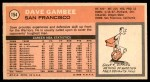 1970 Topps #154  Dave Gambee   Back Thumbnail