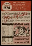 1953 Topps #274  John Riddle  Back Thumbnail
