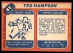 1968 Topps #85  Ted Hampson  Back Thumbnail