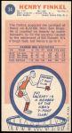 1969 Topps #34  Henry Finkel  Back Thumbnail