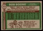 1976 Topps #318  Bob Boone  Back Thumbnail
