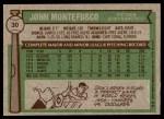 1976 Topps #30  John Montefusco  Back Thumbnail