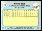 1982 Fleer #21  Steve Sax  Back Thumbnail