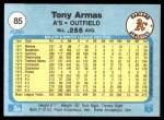 1982 Fleer #85  Tony Armas  Back Thumbnail