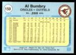 1982 Fleer #159  Al Bumbry  Back Thumbnail