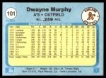 1982 Fleer #101  Dwayne Murphy  Back Thumbnail