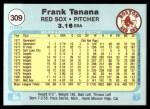 1982 Fleer #309  Frank Tanana  Back Thumbnail