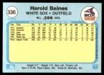 1982 Fleer #336  Harold Baines  Back Thumbnail