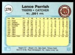 1982 Fleer #276  Lance Parrish  Back Thumbnail
