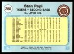 1982 Fleer #280  Stan Papi  Back Thumbnail