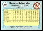 1982 Fleer #292  Dennis Eckersley  Back Thumbnail