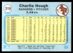1982 Fleer #319  Charlie Hough  Back Thumbnail