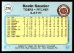 1982 Fleer #275  Kevin Saucier  Back Thumbnail