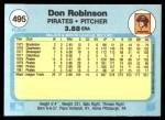 1982 Fleer #495  Don Robinson  Back Thumbnail