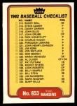 1982 Fleer #653   Rangers / White Sox Checklist Front Thumbnail